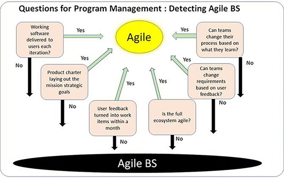 Image by S. Denning based on 'Detecting Agile BS' 2018 DoD