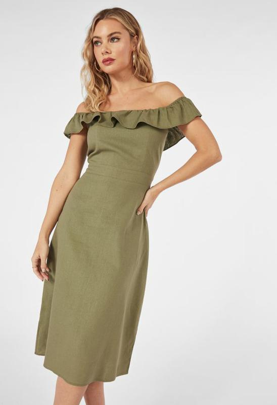 Off Shoulder Linen Midi Dress by JustFab: