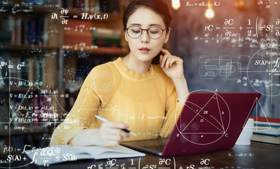Young asian woman studying in the room. Education concept. Science technology. Mathematics.