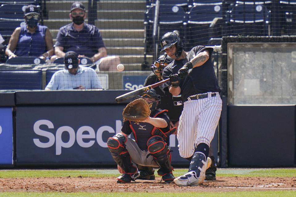 Right handed hitter Gary Sanchez hits a home run.