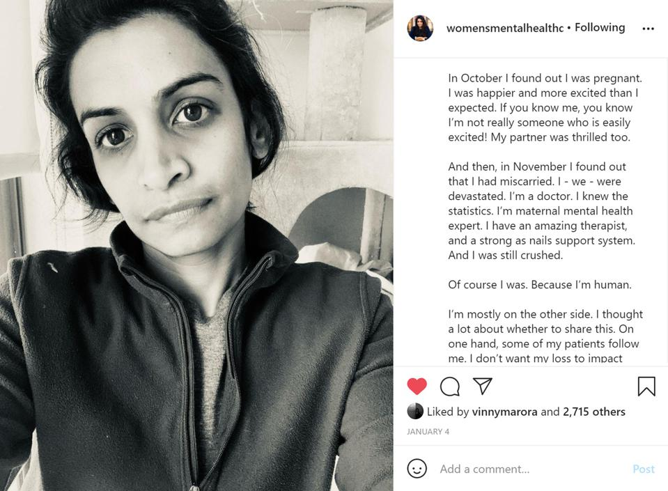 Dr Lakshmin shared about her own miscarriage  Instagram @womensmentalhealthdoc