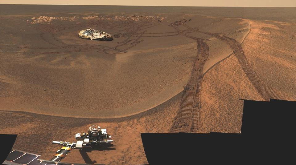 One of the very first images taken by the Opportunity rover in 2004.