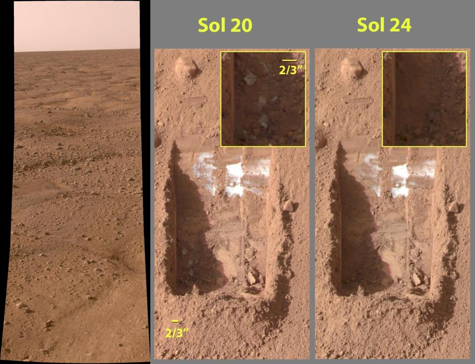 Discovery of frozen water-ice on Mars by the Phoenix lander.