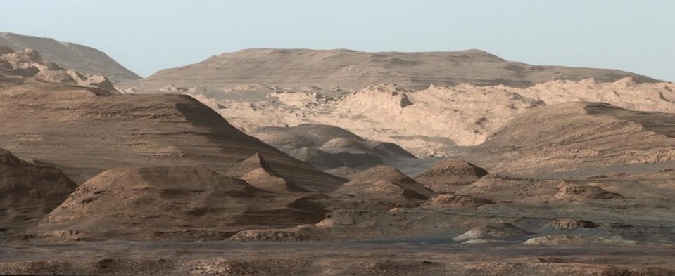 Composite of Mount Sharp's higher regions as taken by NASA's Curiosity rover.