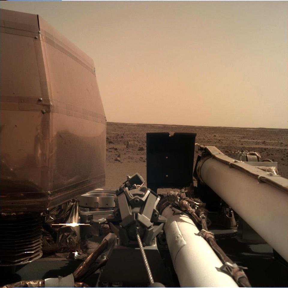 Image of NASA's Insight mission from the instrument deployment camera on day 0.