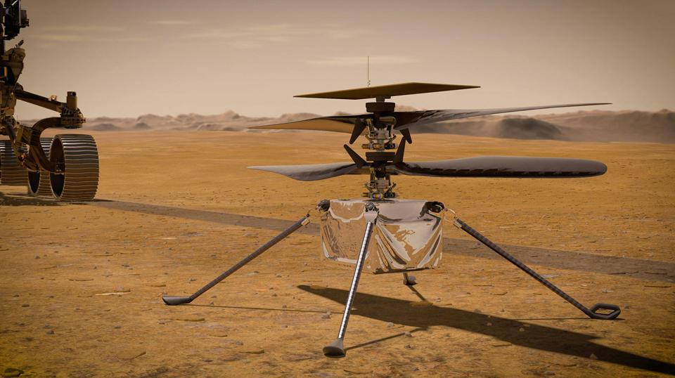 This concept illustration shows NASA's Ingenuity Mars Helicopter.