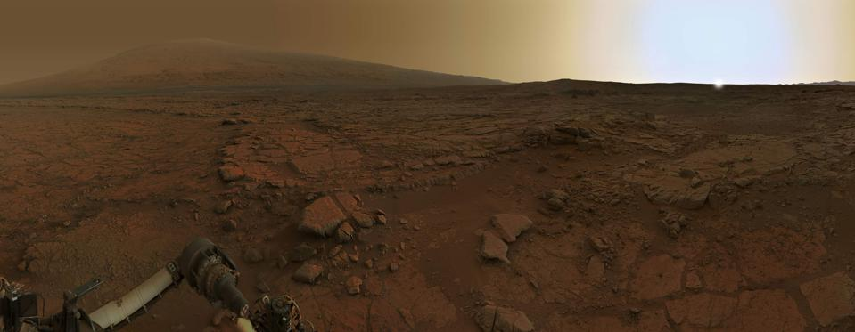 This 360-degree panorama from the Curiosity mission shows Mars at sunset.