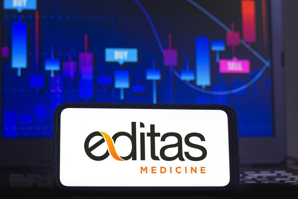 In this photo illustration an Editas Medicine logo seen...