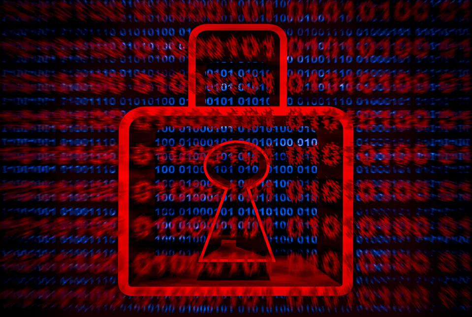 Illustration, 3D red padlock on blue, red binary code on screen background. Computer security, internet connection technology and ransomware in concepts.