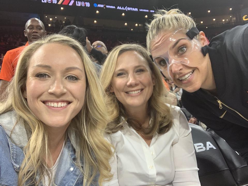 Amanda Delle Donne, Erin Kane and Elena Delle Donne at the 2019 WNBA All Star Game.