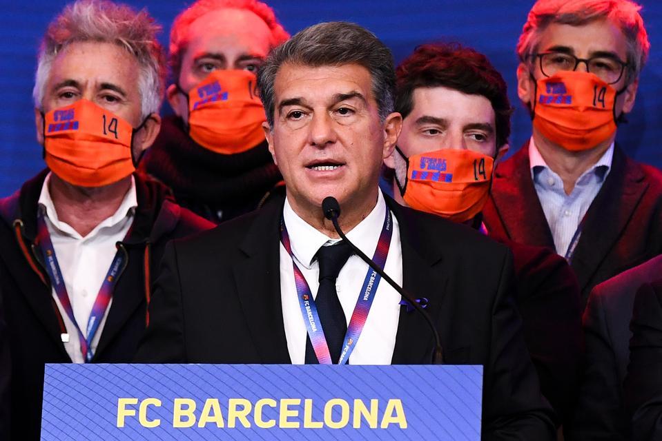 Joan Laporta, the elected president of Barcelona, addresses the media.