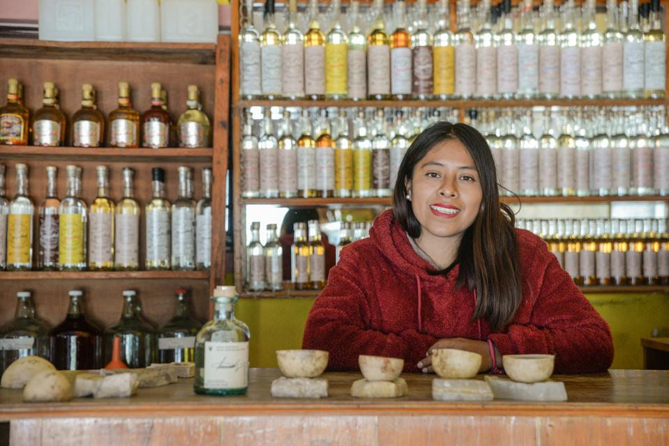 Lidia Hernandez Hernandez not only produces mezcal under her own brand, but also runs the store in which it's sold.