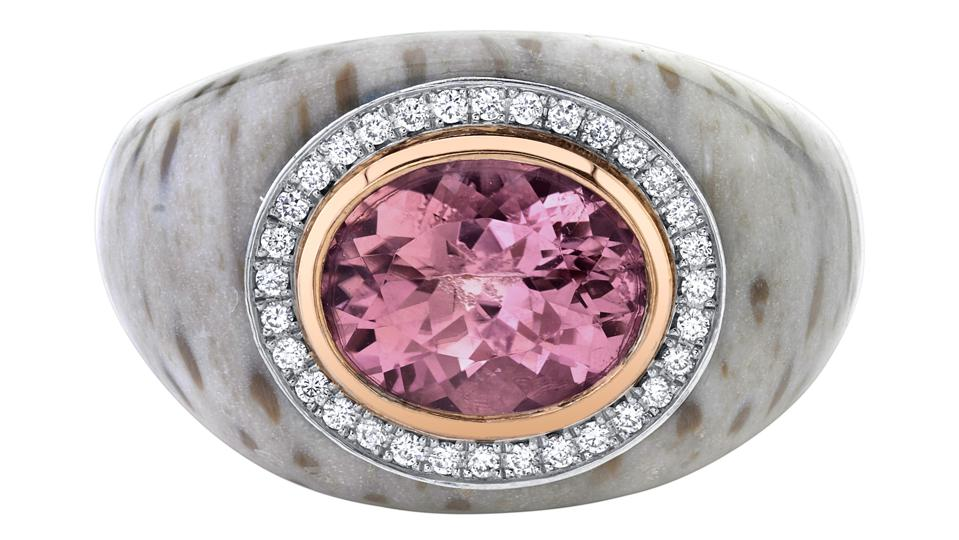 A Chubby ring by Emily P Wheeler, pink tourmaline and white diamonds set in gold and petrified palm wood.