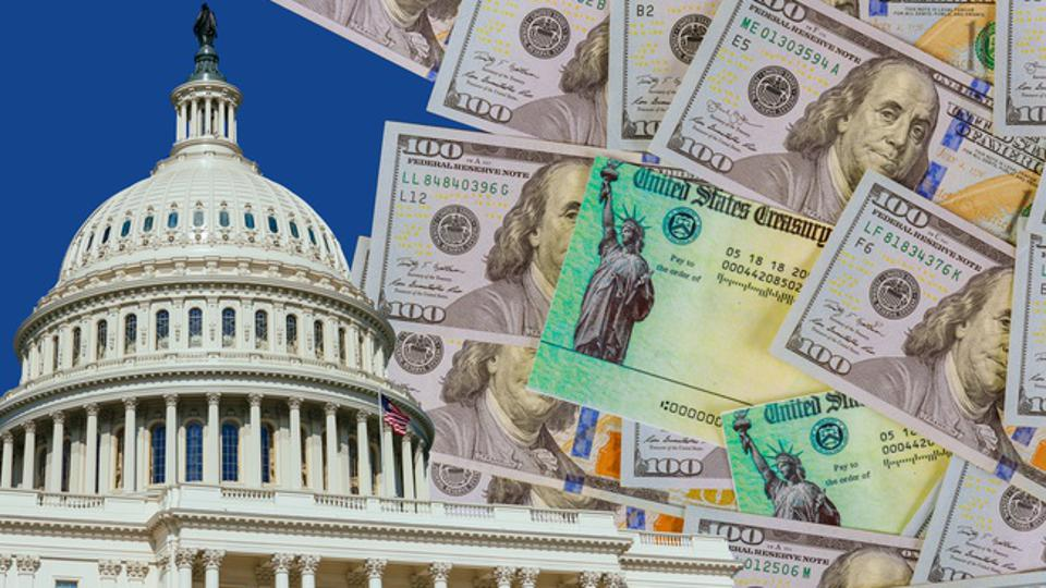 Picture of US Capital dome with 100 dollar bills and US Treasury checks in background