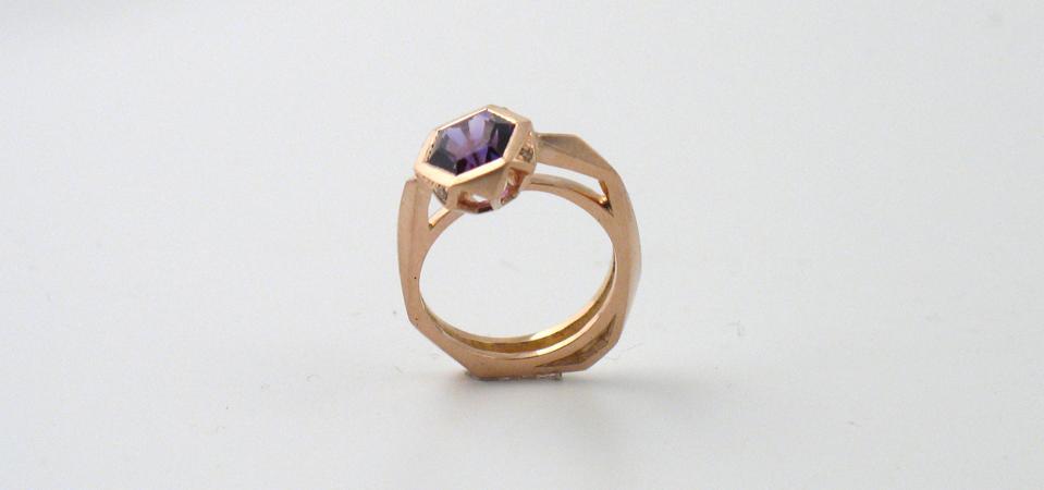 An amethyst and rose gold ring by London-based designer Melanie Eddy