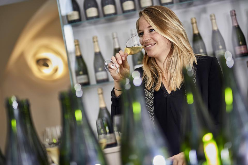 Cellar Master Alice Tétienne with glass at Champagne Henriot