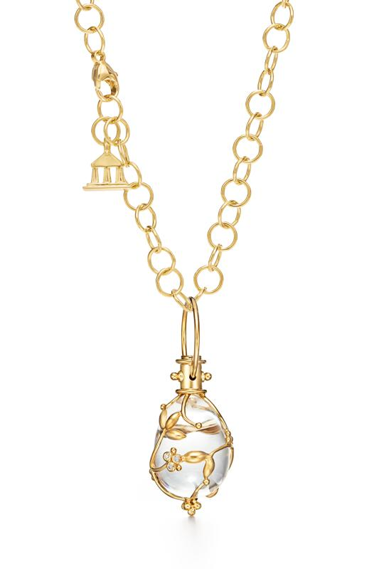 The classic 18k gold and rock crystal Vine amulet by Temple St Clair