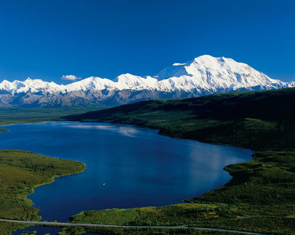 View of Denali National Park with a lake i the foreground
