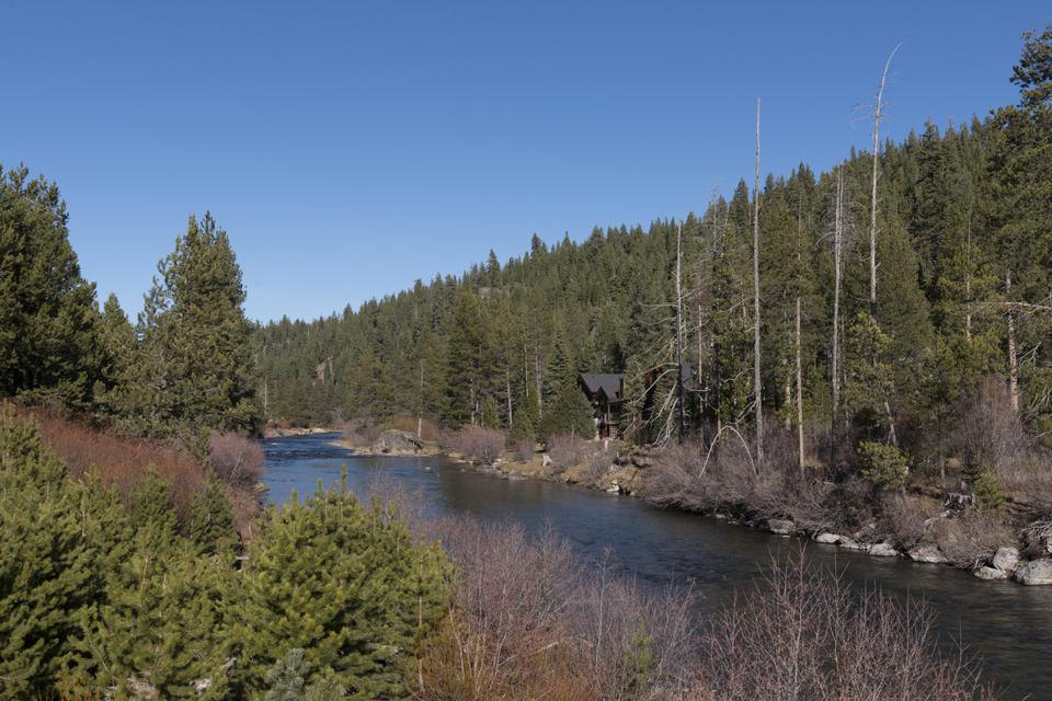 View of the Truckee River in Tahoe National Forest in Northern California
