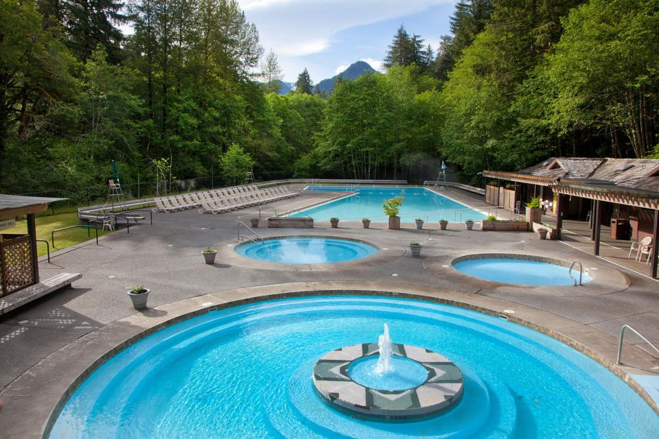 Relaxing turquoise hot springs pools at Sol Duc Hot Springs Resort, Olympic National Park