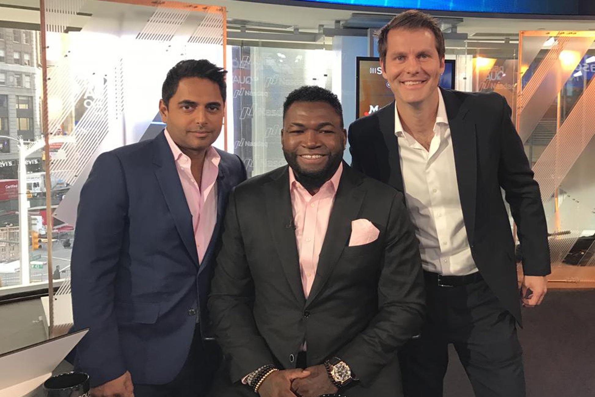 CAVU Ventures founders Rohan Oza (L), former MLB all-star David Ortiz & Brett Thomas (R).