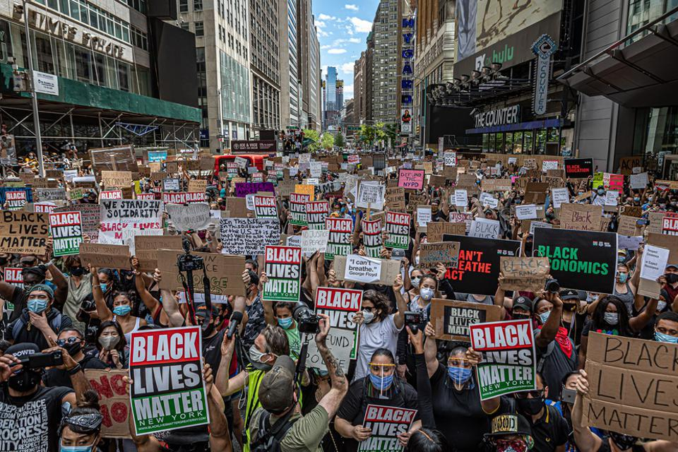 Thousands gathered in New York's Times Square to protest racial injustice