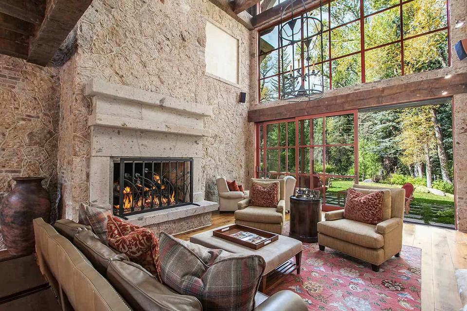 living room inside luxury colorado home in edwards at 50 Spruce Lane