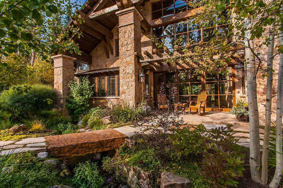 backyard of luxury home in edwards, colorado, at 50 Spruce Lane