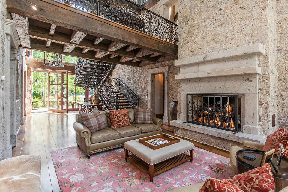 great room and fireplace inside 50 spruce lane in edwards colorado