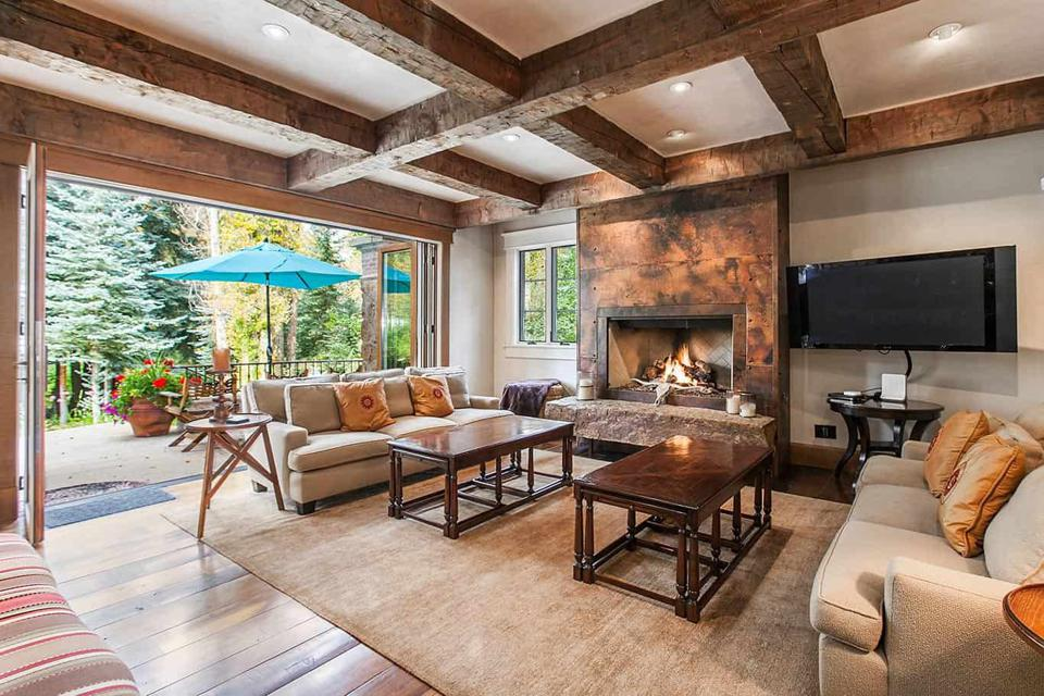 family room inside edwards colorado luxury home at 50 spruce lane