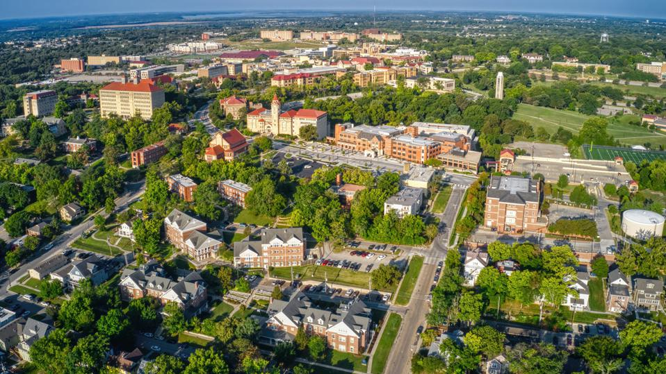 Aerial View of Lawrence, Kansas and its State University