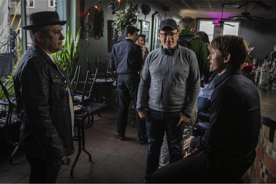 Directors Joe and Anthony Russo on the set of 'Cherry' with actor Tom Holland