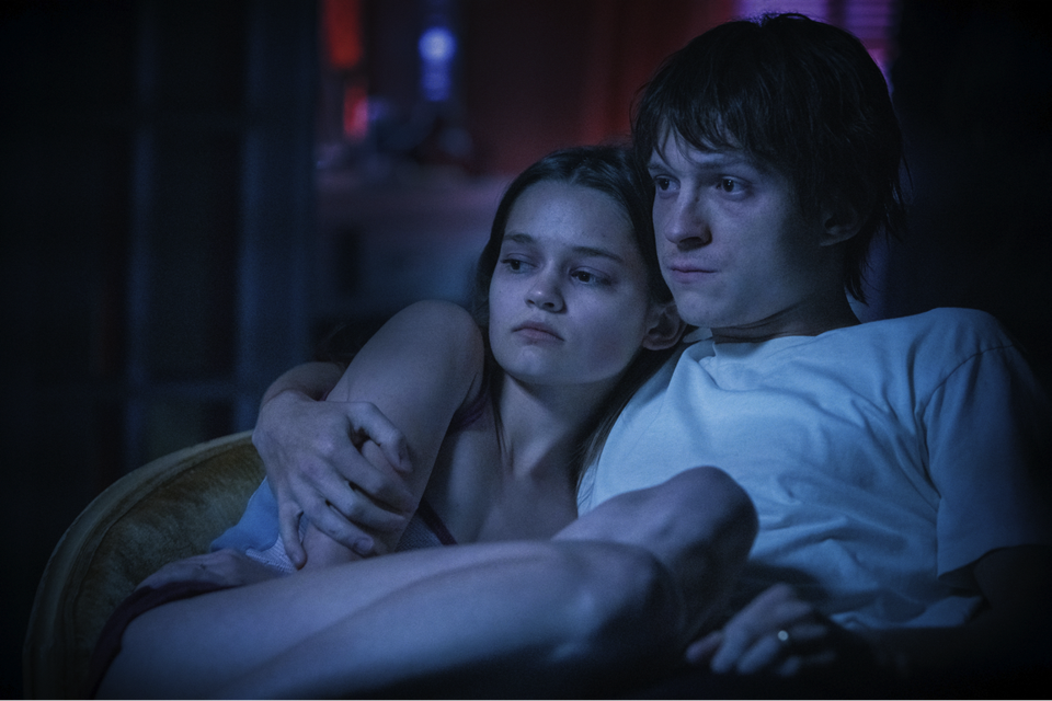 Actors Ciara Bravo and Tom Holland during a scene in the film 'Cherry'