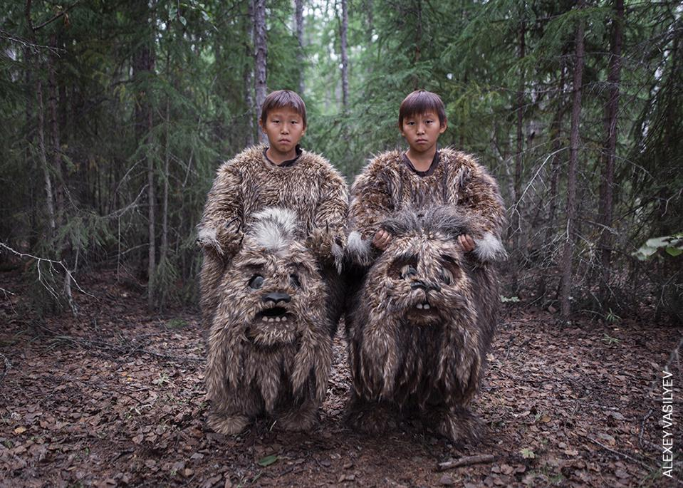 Young extras with their monsters' customs in remote Sakha, Russia.