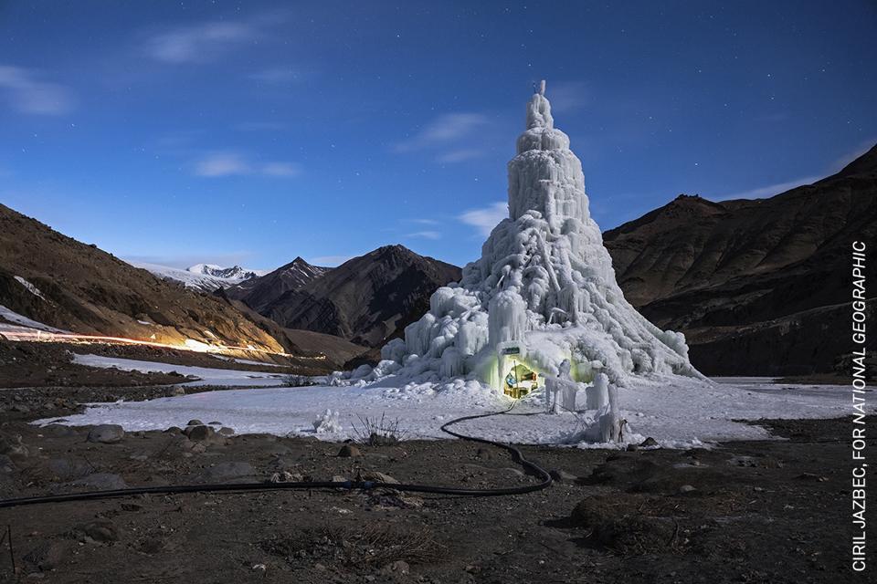 communities in the Ladakh region of northern India building huge ice cones in the desert