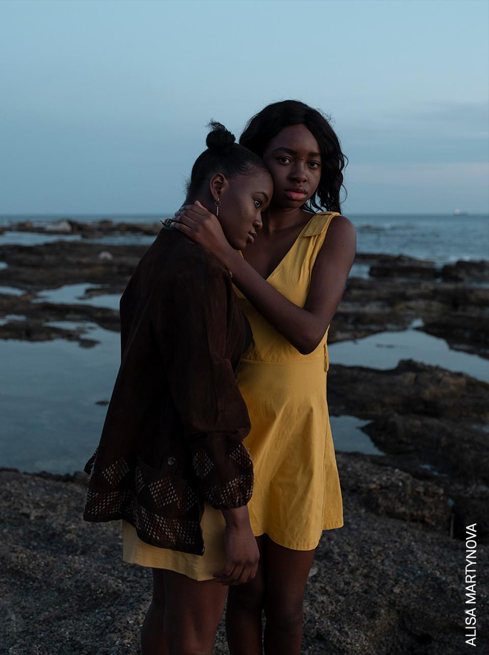 Two young African immigrant girls in Italy.
