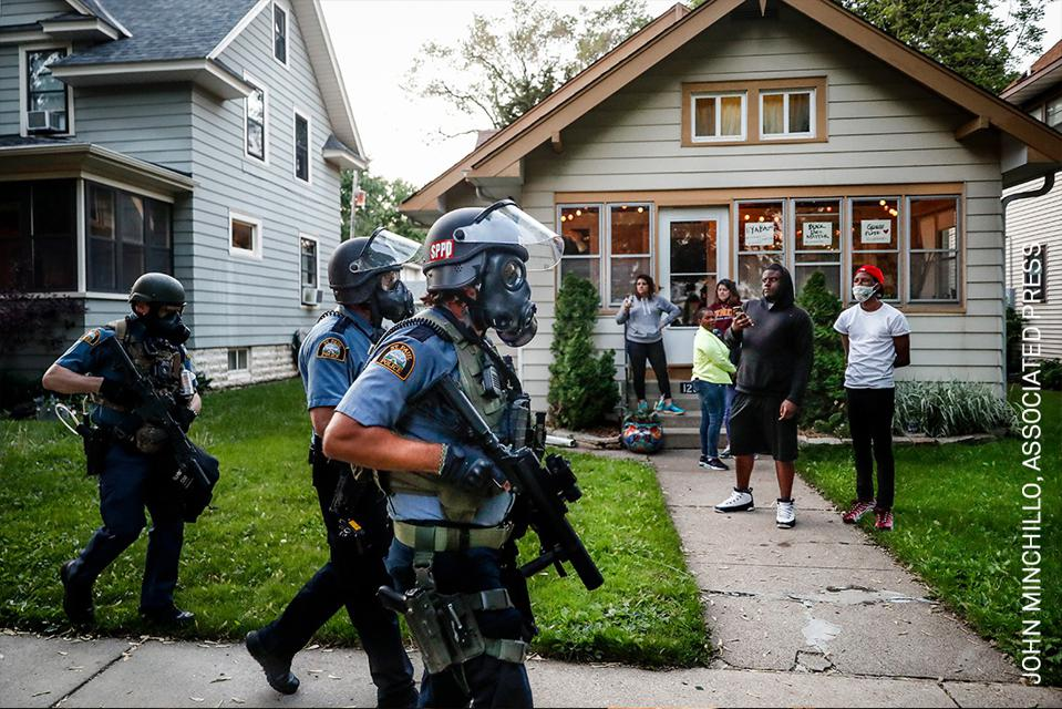 National Guard agents patrolling a black neighborhood during BLM protests