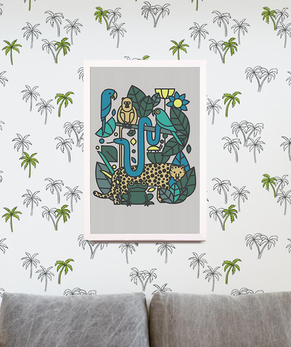 green and blue art print on wall