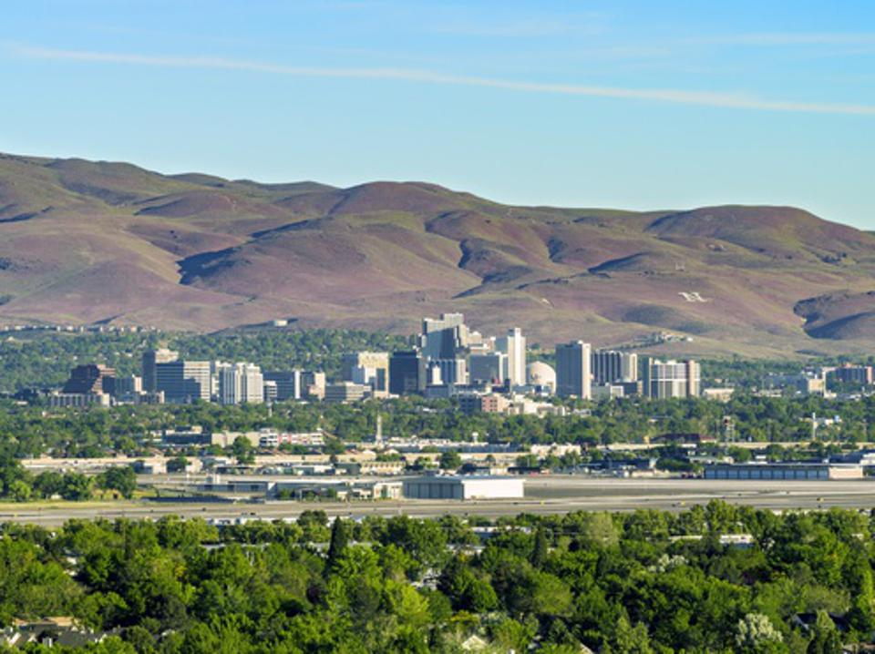 Photograph of trees and the City of Reno skyline in Nevada.