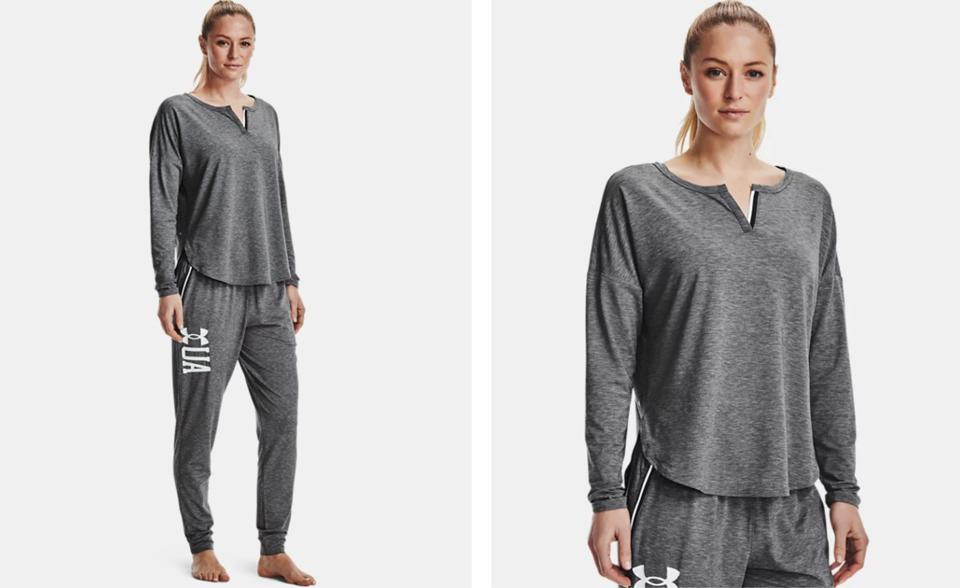 A woman wears Under Armour Recover pajamas in grey.