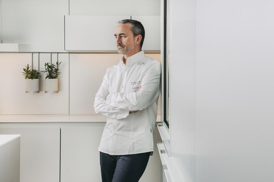 Chef Vincent Farges stands in the kitchen of Epur restaurant in Lisbon, Portugal