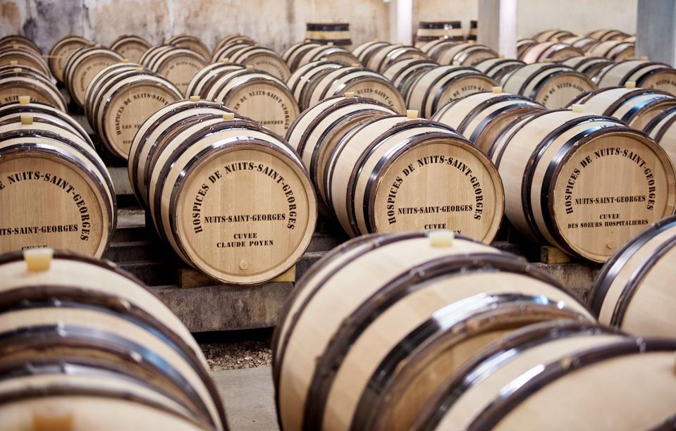 Barrels inside the Hospices de Nuits cellar