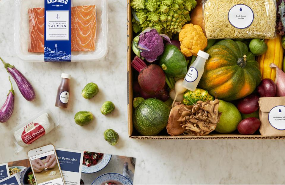 An overhead view of a Blue Apron meal kit