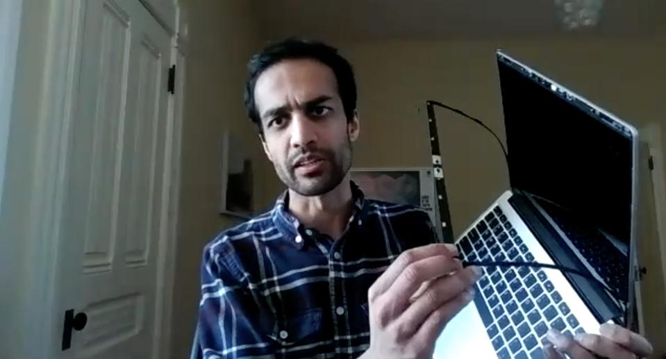 Framework founder Nirav Patel demonstrates his modular laptop.