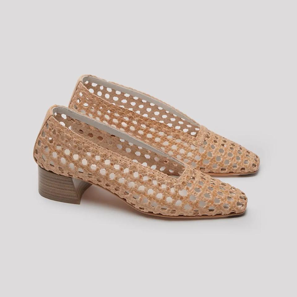 miista shoes taissa woven leather mid heels