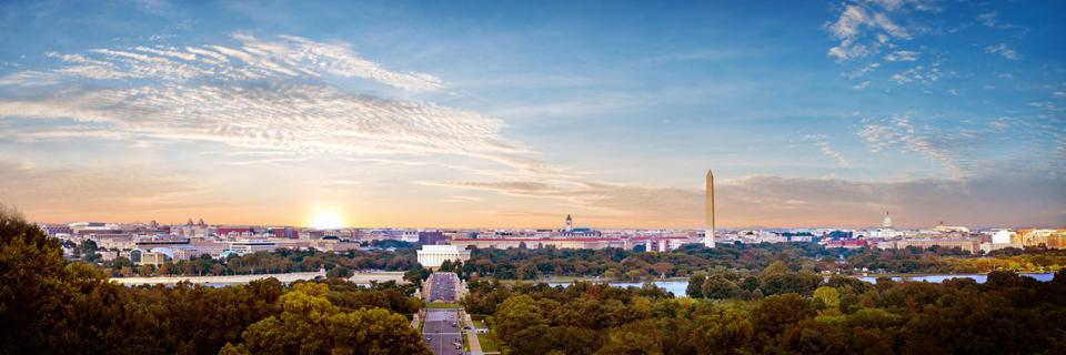 Panorama view of Washington DC skyline when sunset seen from Arlington cemetery.