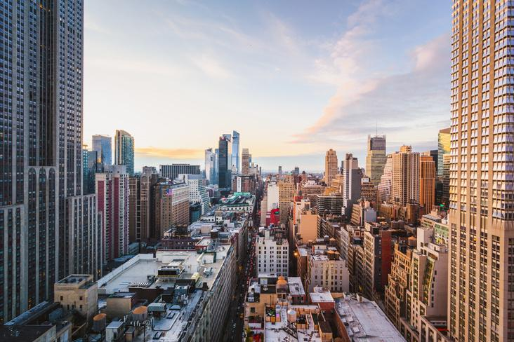 Rooftop view of Midtown Manhattan skyline, New York City
