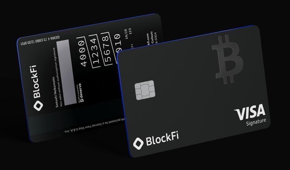 A prototype of the BlockFi Bitcoin Rewards Credit Card