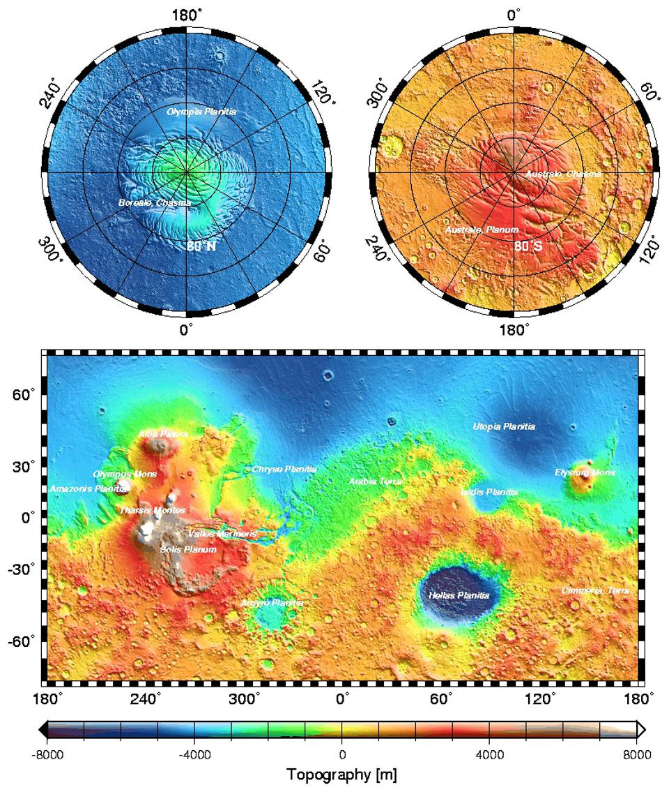 Topographic map of the surface of Mars from MOLA.
