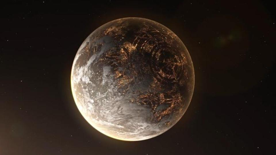 Artistic recreation of a hypothetical exoplanet with artificial lights on the night side.